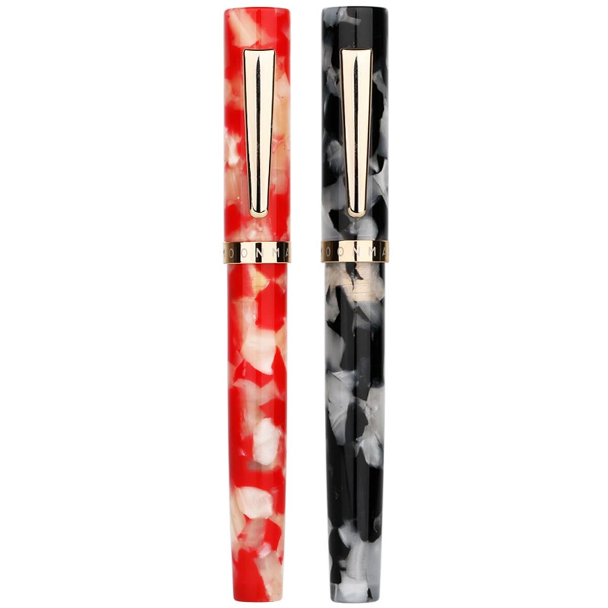 KICUTE Mini Business 0,5 0,38mm pluma estilográfica corta de resina acrílica Caballero pluma para regalo de Navidad con caja de regalo 2 patrones