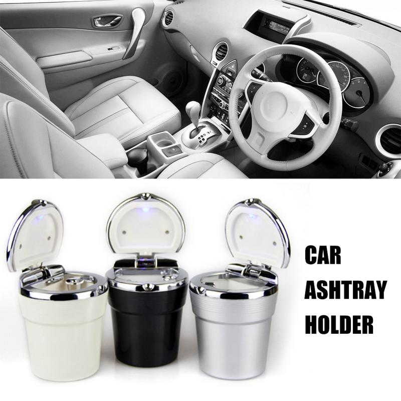 Car Cigarette Ashtray With Blue LED Light Indicator Portable Bling Smokeless Cylinder Cup Holder For Universal Vehicles