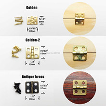 12pcs Mini Small Light Golden Antique Brass Bronze Jewelry Chest Gift Music Box Wood Case Dollhouse Cabinet Door Hinge + screw [haotian vegetarian] antique chinese brass coat detachable door hinge hinge small 9cm