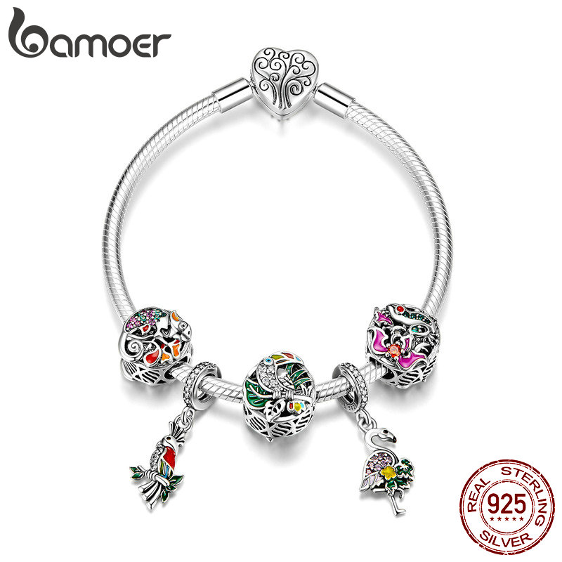 BAMOER Trendy 925 Sterling Silver Tropical Animal Bird Flamingo Heart Clasp Charm Bracelets for Women Silver