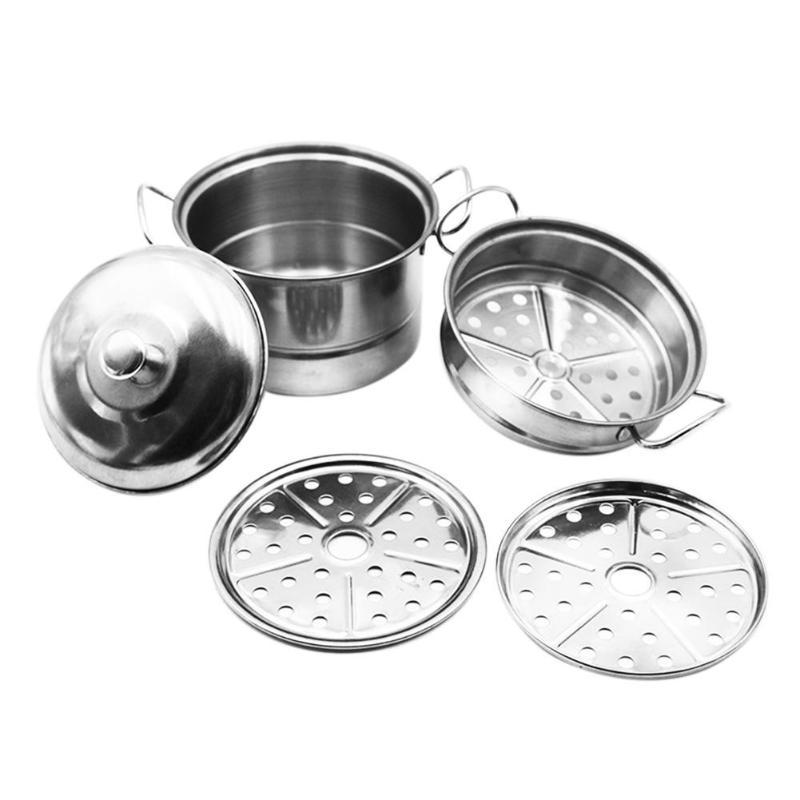 5pcs Kids Stainless Steel Kitchen Toy Pot Pans Mini
