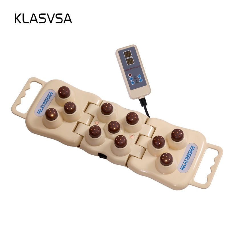 KLASVSA Electric Foldable Natural Tourmaline Heat Massage Mat Back Neck Pillow Far Infrared Therapy Jade Massager