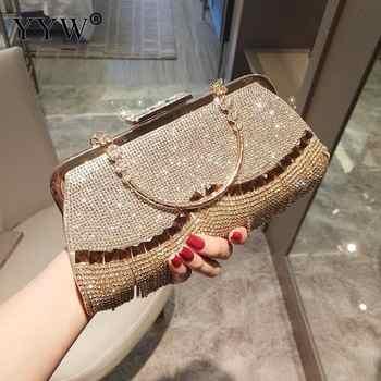 Rhinestones Tassel Clutch Bag Women Gold Fashion Party Wedding Handbag And Purse Evening Bags Beaded Metal Luxury Elegant Bag - DISCOUNT ITEM  30% OFF All Category
