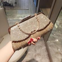 Strass borla bolsa de embreagem feminina ouro moda festa de casamento bolsa e bolsa sacos de noite frisado metal luxo elegante