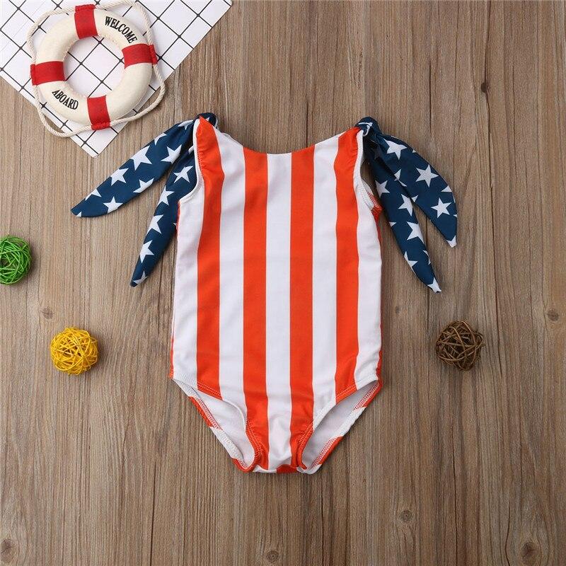 6M 5T Infant Kids Baby Girls Stars Striped Bikini Swimwear Swimsuit Bodysuit One Piece Cute -1770