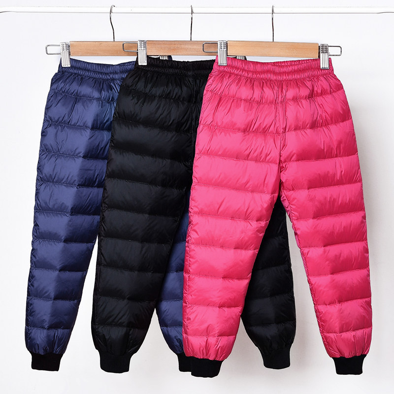 Spring Autumn Outdoors Camping Trekking Play Students Children Frivolous Pants Girl Baby Clothes Keep Warm Trousers 90% Down