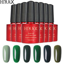 HNUIX Gel 1s Green Color 7.3ml Nail Polish Art Beauty Necessary Top Base UV LED Semi Permanent High Quality