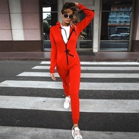 2019 Sport Jumpsuit Gym Woman Sportswear Red Unique Autumn Women Tracksuit Fitness Sports Suit Female Siamese Trousers S