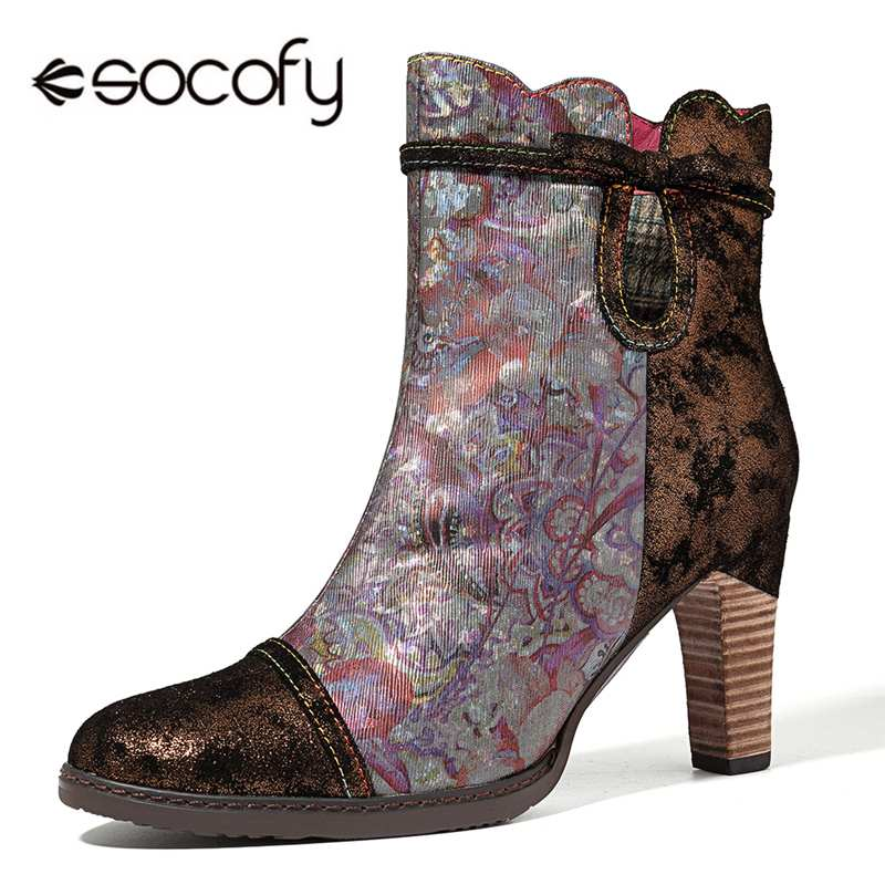 Socofy Retro Printed Genuine Leather Splicing Ankle Boots Women Shoes Woman Fashion Vintage Zipper High Heels 8cm Booties BotasSocofy Retro Printed Genuine Leather Splicing Ankle Boots Women Shoes Woman Fashion Vintage Zipper High Heels 8cm Booties Botas