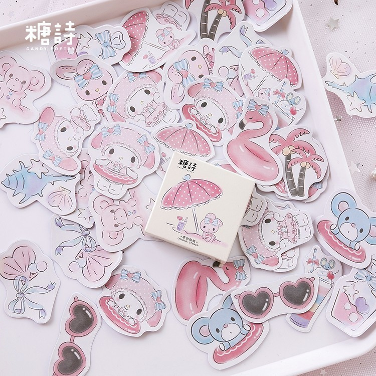 45PCS/box Seaside Holiday Paper Lable Sealing Stickers Crafts Scrapbooking Decorative Lifelog DIY Stationery Sticker