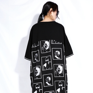 Image 5 - [EAM] 2020 חדש אביב קיץ עגול צוואר קצר שרוול שחור גדול גודל מכתב מודפס סדיר מכפלת שמלת נשים אופנה גאות JQ326