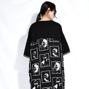 Image 5 - Женское платье с асимметричным подолом EAM, черное платье с круглым вырезом и коротким рукавом, большие размеры, весна лето 2020