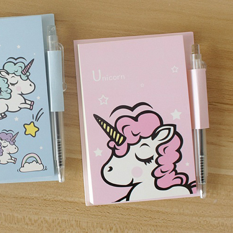 1PC Cute Unicorn Memo Pad Cartoon Notepads With Pen For Kids Girls Gift Writing Sticky Notes Office Stationery School Supplies