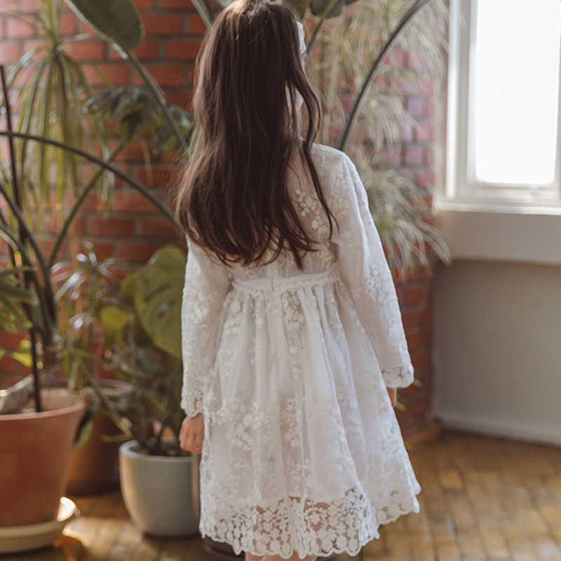 Белые кружевные Длинные вечерние платья без рукавов для выпускного вечера для девочек от 4 до 14 лет, вечернее платье для девочек-подростков осенне-зимние детские платья
