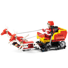 Cada Double E 439PCS 2 In 1 0.36KM/H Santa Claus Transformation Sled Car Children Building RC Block Assemble Electric Toys Kid