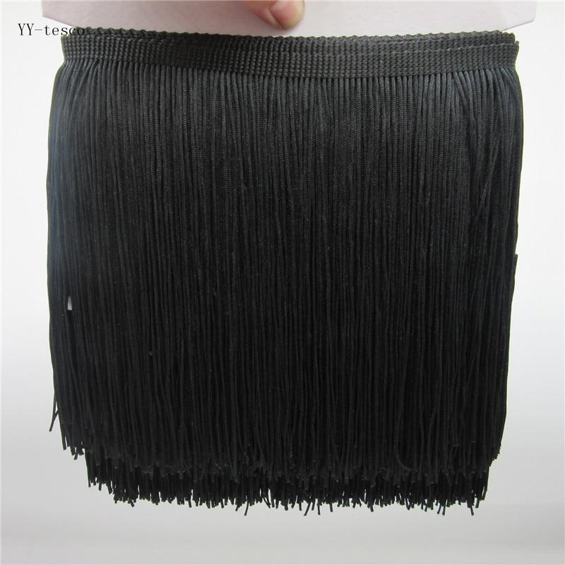 Черная полиэфирная кружевная лента с бахромой, ширина 5 метров 20 см, отделка тесьмой, шитье, латинское платье, аксессуары для одежды