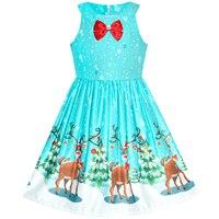 Girls Dress Blue Christmas Tree Snow Reindeer Year 2019 Summer Princess Wedding Party Dresses Kids Clothes Pageant Sundress
