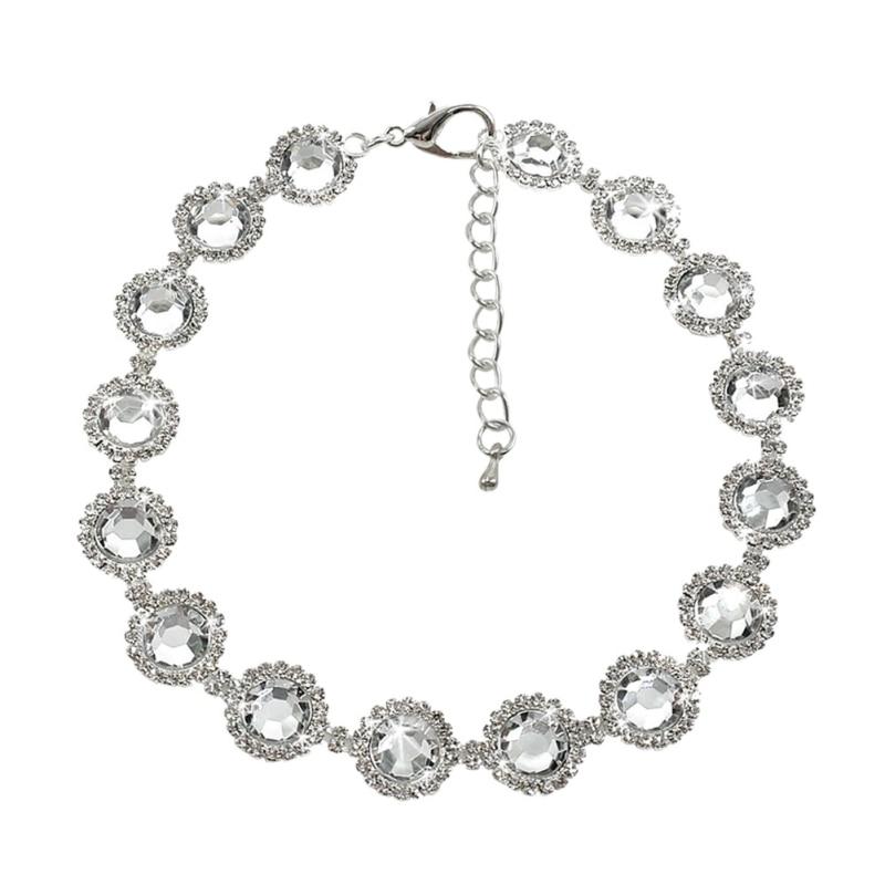 Rhinestone Pearl Necklace Dog Collar Alloy Diamond Pet Collars