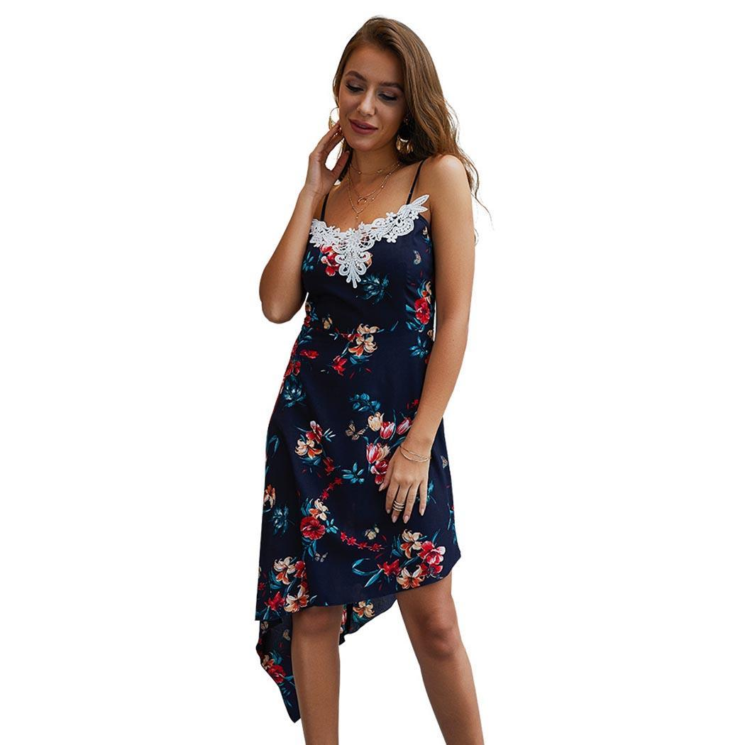 AL'OFA Sexy   Cocktail     Dresses   Women Spaghetti Strap Sleeveless Cross-Back Floral Printed Mini Party Proms Summer   Cocktail     Dress
