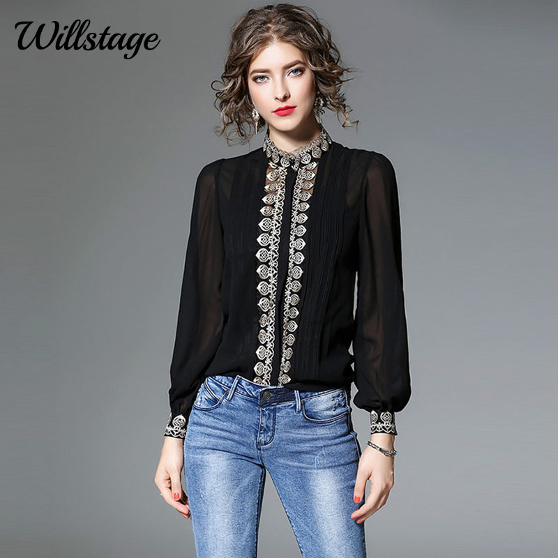 Willstage Chiffon Blouses Women Lantern Sleeve Floral Embroidery Two Pieces Shirts With Bottom Hollow Out Tops New 2019 Autumn