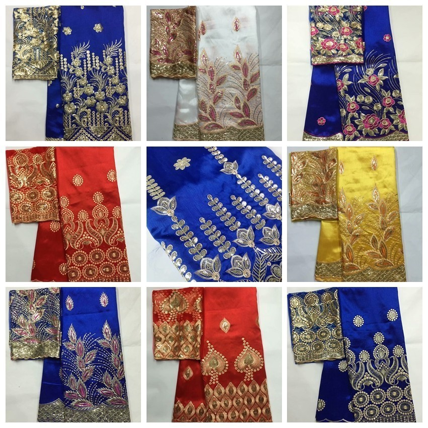 African George Fabric High Quality Indian Raw Silk George Wrappers Hot Nigerian Lace Fabrics Set with