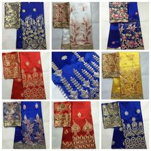 Tela africana George de alta calidad Indio de seda cruda George Wrappers Hot Nigerian Lace tejidos Set con blusa para boda 5 + 2 yarda(China)
