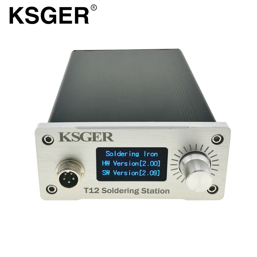 Electric Soldering Irons Ksger T12 Stm32 Oled Digital Electronic Temperature Controller Soldering Station Finished V2.01/1.3 Display Cnc Engraving Panel And Digestion Helping