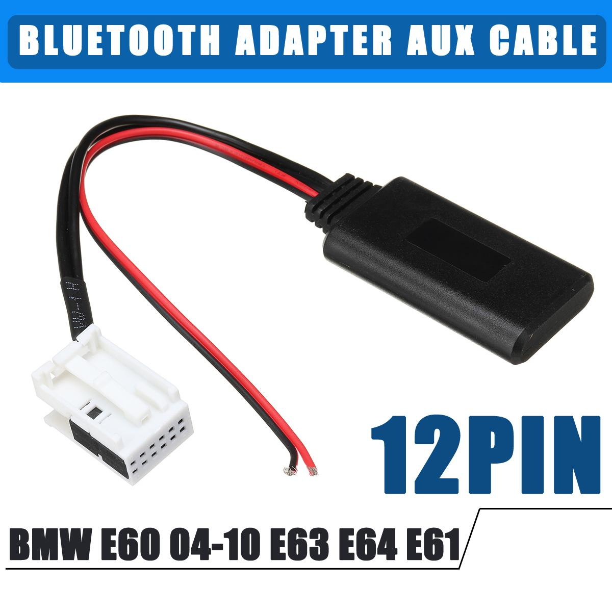 US $10 13 32% OFF|12Pin bluetooth Adapter Wireless Radio Stereo Aux Cable  Connect External Audio For BMW E60 04 10 E63 E64 E61 For iPhone For iPad-in