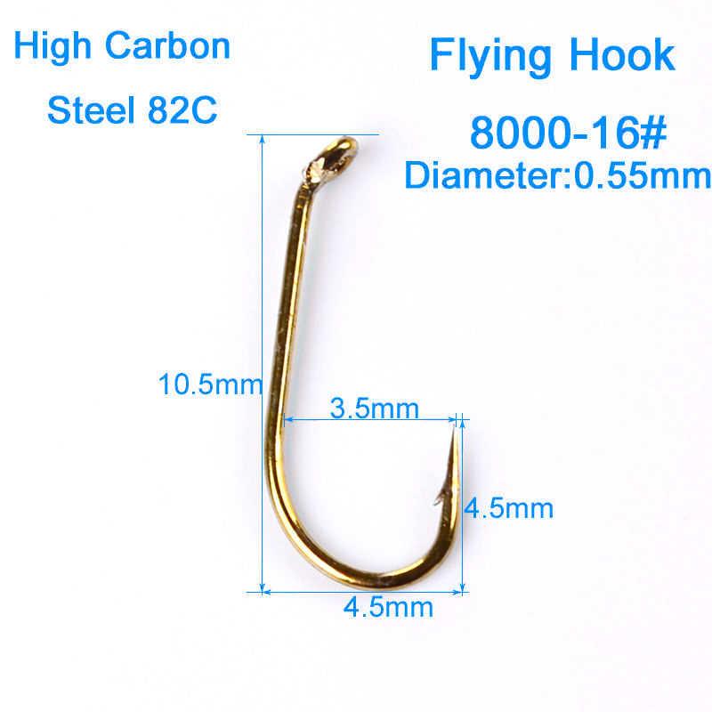 200x/zestaw złoty haczyk do wędkarstwa muchowego 8000-8 #12 #14 #16 # haczyk wędkarski słodkowodne Bass.