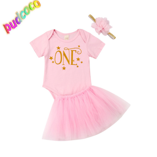 2019 Toddler Kids Baby Girls 1St Birthday Tops Romper Skirt  Outfits Clothes Set Hot