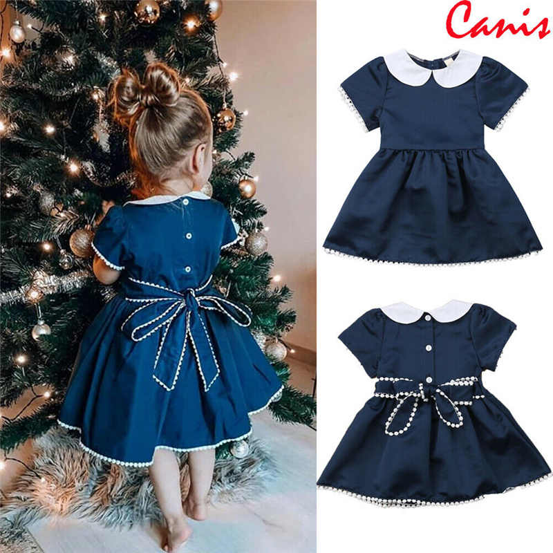 Wholesale Baby Dress Girl Retro Cotton Blend Blouse Cotton Girl Short Sleeve Bow Princess Party Dress
