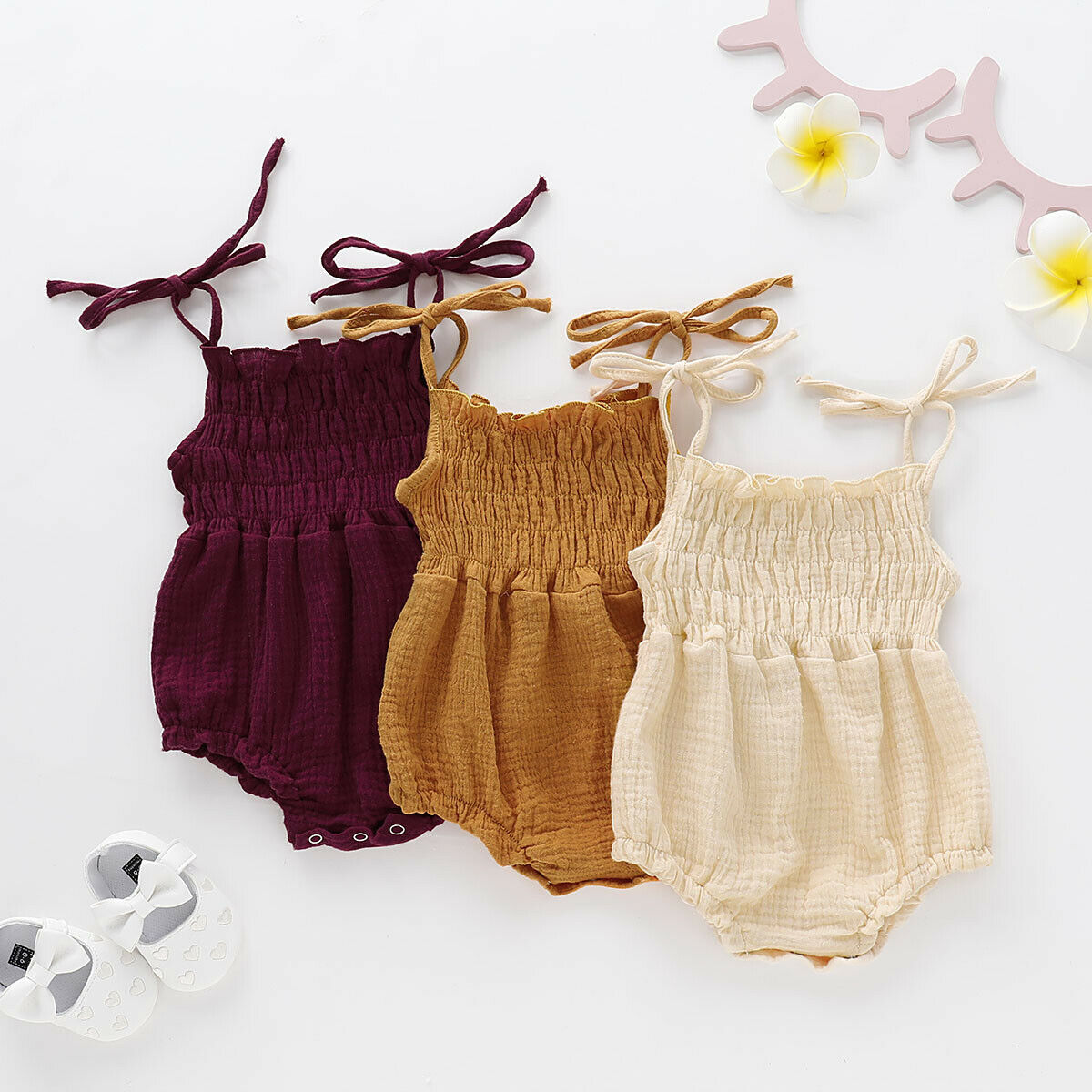 Summer Newborn Infant Baby Girl Solid Romper Jumpsuit Outfit Summer Cotton Linen Baby Girl Clothes Rompers