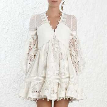 2020 nouveau Sexy col en V profond dentelle plage sukienki Patchwork broderie robe de soirée Vestidos verano robe femme