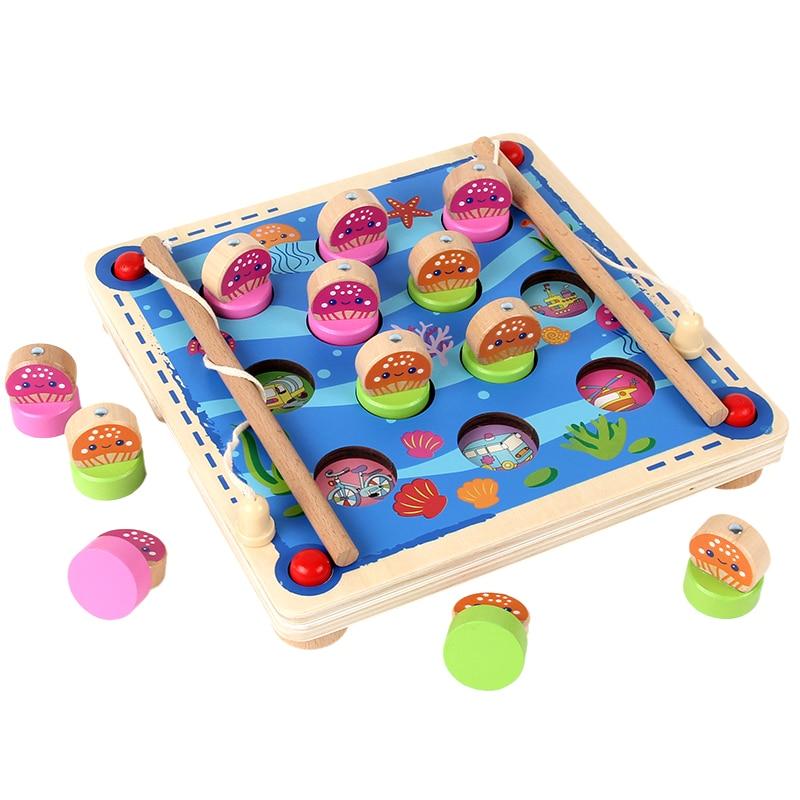Onafhankelijk Nieuwe Montessori Kinderen Houten Vissen Geheugen Schaakspel Speelgoed Hand-gepolijst Milieubescherming Materiaal Magneet Vissen
