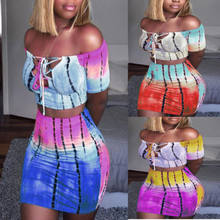 Sexy Women's Bodycon Two Piece Dress 2018 New Fashion Colorful Print Bandage Hollow Crop Top&High Waist Dress Outfit Clubwear2XL(China)