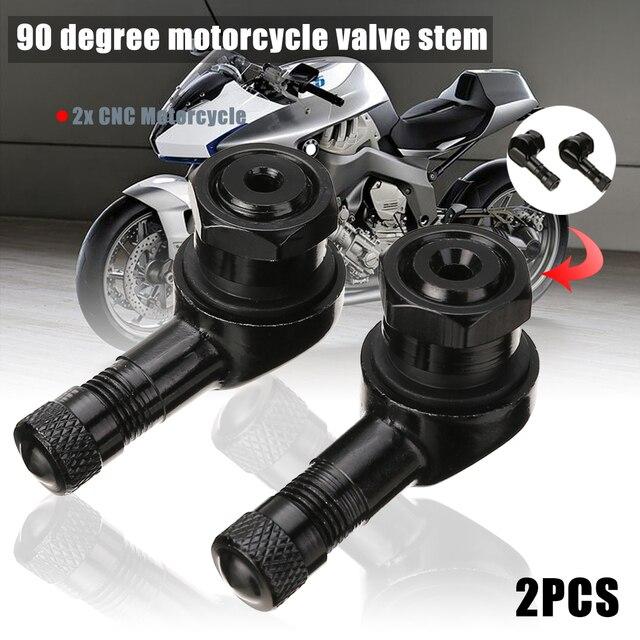 Ruedas Neumáticos y piezas 2 piezas 10mm 11,3mm CNC motocicleta válvula vástago 90 grados ángulo rueda Tubeless válvula de aluminio
