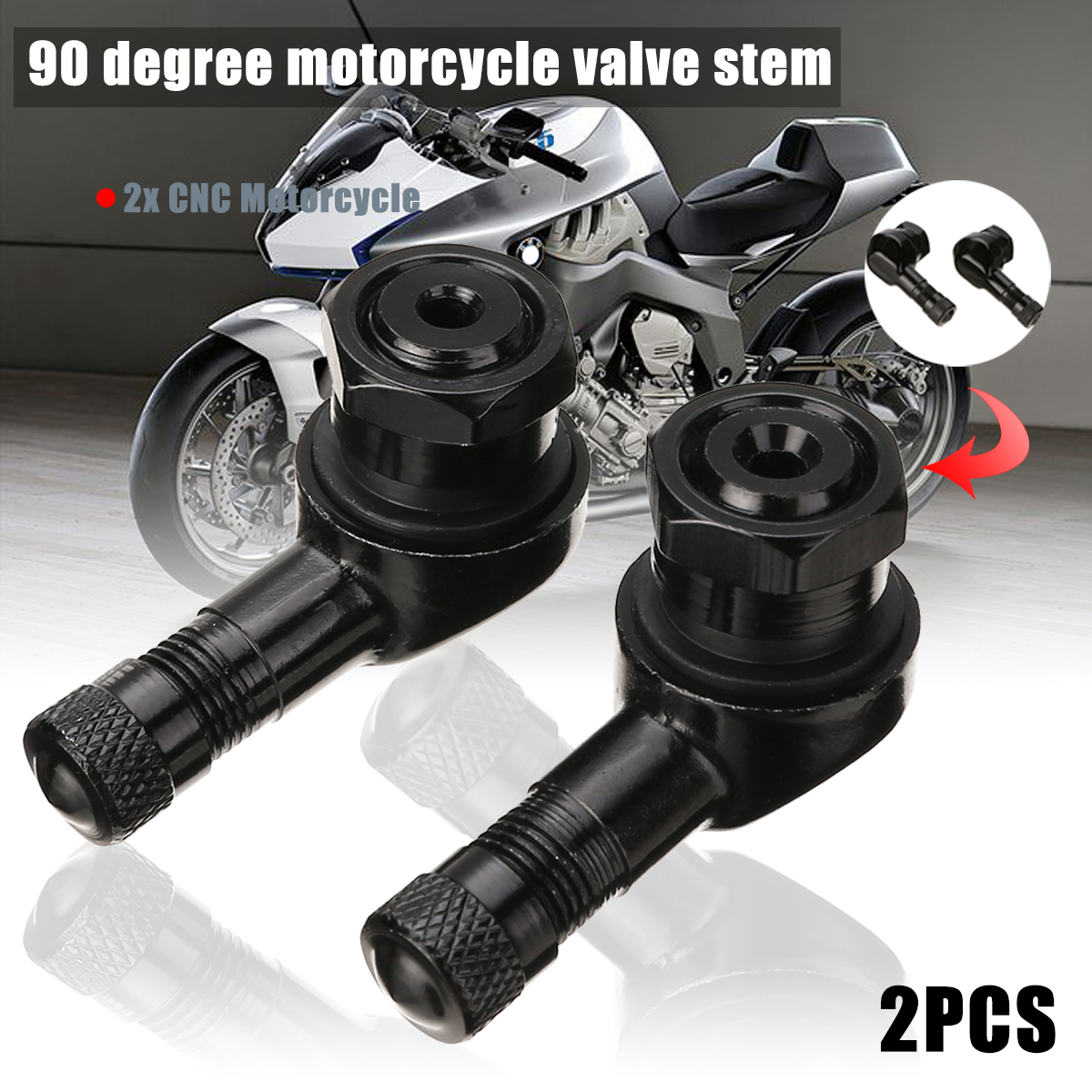 Wheels Tires & Parts 2pcs 10mm 11.3mm CNC Motorcycle Valve Stem 90 Degree Angle Wheel Tire Tubeless Valve Stems Aluminum