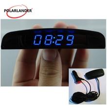 3 в 1 интерьерный измеритель температуры вольтметр четыре режима дисплея Авто Цифровой светодиодный электронные часы для автомобиля авто аксессуары 12 В