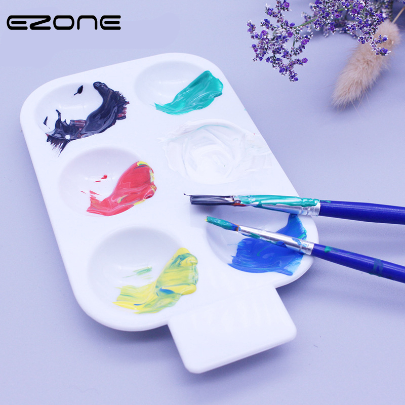 EZONE 6 Grids Paletter For Watercolor Painting Candy Color Circle Paletters Oil Gouache Acrylic Drawing Tray Pallet Art Supply