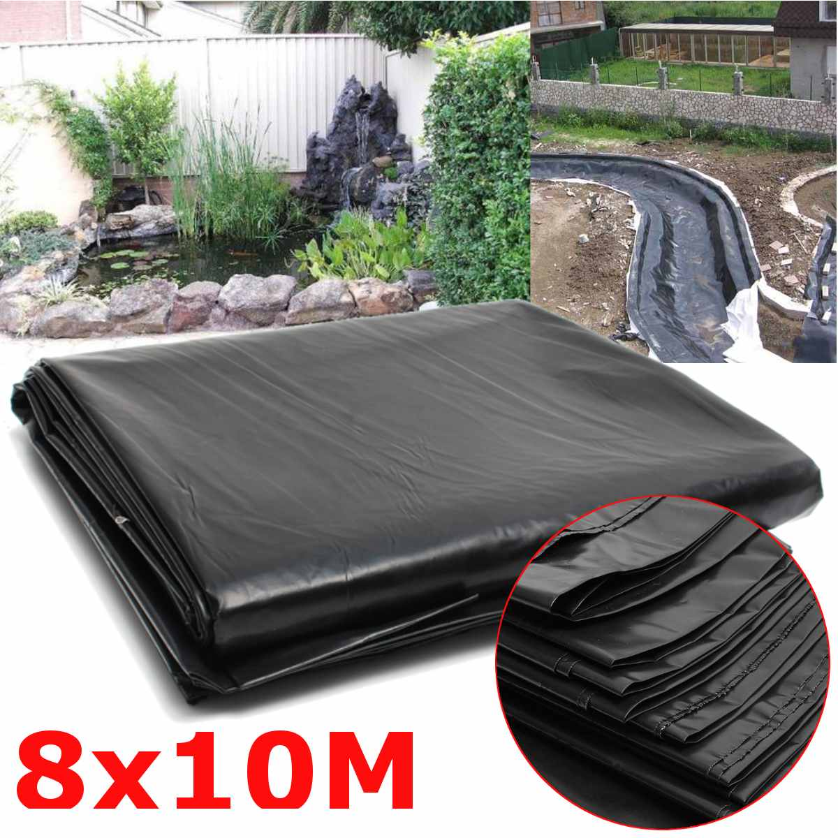 8x10m 0.12MM Fish Pond Liner Cloth Home Garden Pool Reinforced HDPE Heavy   Landscaping Pool Pond Waterproof Liner Cloth