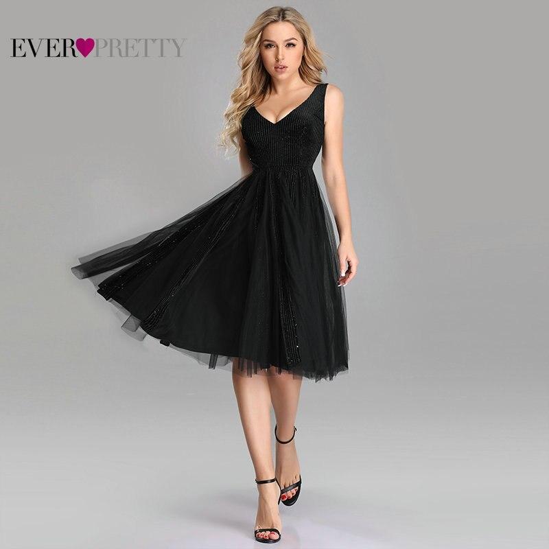 Sexy Homecoming Dresses Ever Pretty EZ03078 Plus Size Black A line V neck Vlevet Sparkle Short Gowns Tulle Graduation Dresses