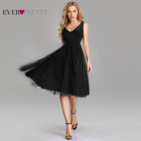 Sexy Homecoming Dresses Ever Pretty EZ03078 Plus Size Black A line V neck Vlevet Sparkle Short Gowns Tulle Graduation Dresses