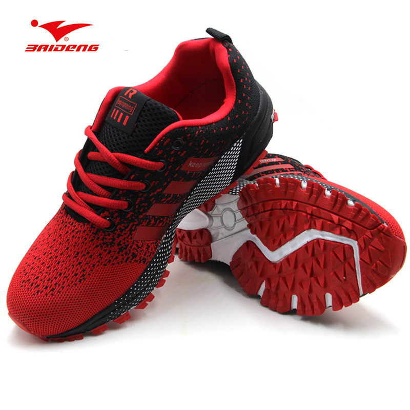 Cheap Men Sports Sneakers Shoes 2019 Breathable Men's Running Shoes Red Lightweight Sneakers Woman Comfortable Athletic Footwear(China)