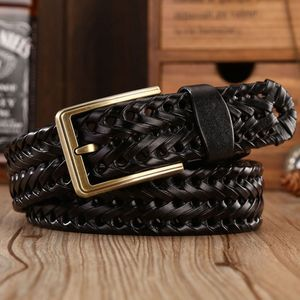 Image 1 - Men Genuine Leather Belt Pin Buckle Braided Belts For Men Quality Luxury Designer Handwoven Fashion Belts For Jeans