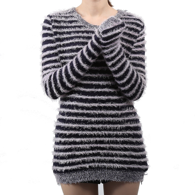 f9d38a6536ae Women Hairy Shaggy Sweater Winter Spring Warm Striped Sweaters Fluffy  Pullover Ladies Slim Fit Knitted Jumper Tops Pull Femme