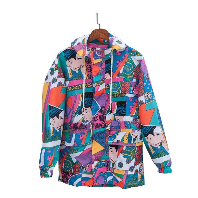 Harajuku Japanese Ukiyo E Colorful Patchwork Jacket Men Hip Hop Removable Hoodie Male Streetwear Windbreaker Graffiti coat A9111