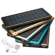 Ультратонкие удобный 8000 mAh Солнечное Зарядное устройство с двумя портами USB 5 v мобильный телефон Батарея Зарядное устройство Внешнего Батарея светодиодный портативное зарядное устройство в виде фонарика для мобильного телефона