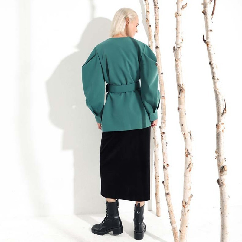Jl083 Lâche Nouveau Bandagejacket Chauve Femmes souris eam Mode Fold Hiver col black Manches Commune Manteau V Longue 2019 Vert Green Printemps Fendue Z5w5qH6
