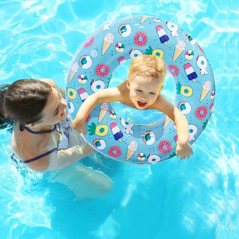 Cartoon Print Inflatable Adult Kids Swimming Ring Pool Float Armpit Circle Beach Kids Float Boat
