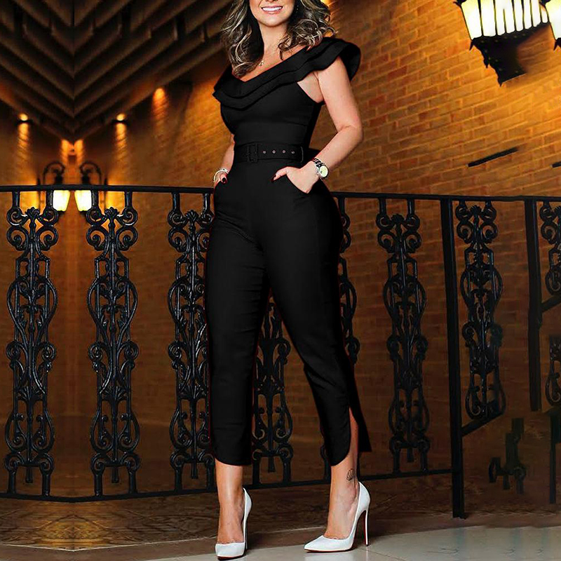 Women's Ruffles Clubwear Playsuit Bodysuit Party Jumpsuit Romper Trousers Fashion Women Casual Short Sleeve Long Pants Bodysuit